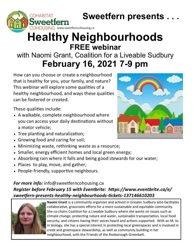 Healthy Neighbourhoods FREE webinar poster
